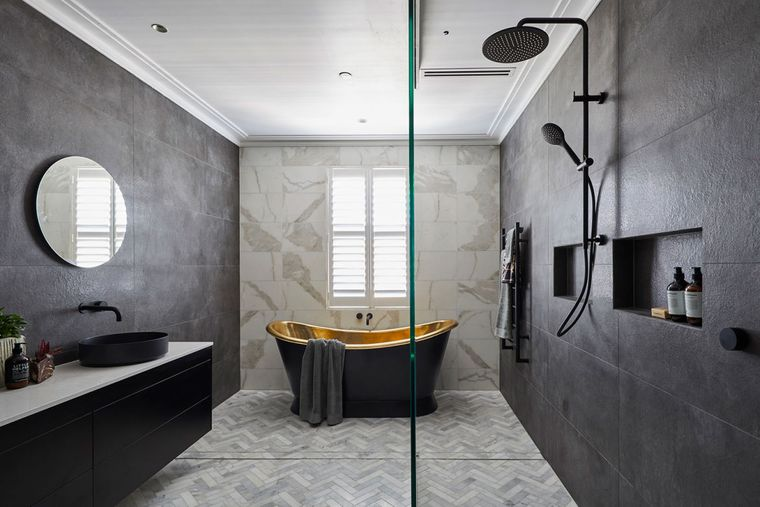 baños modernos color negro