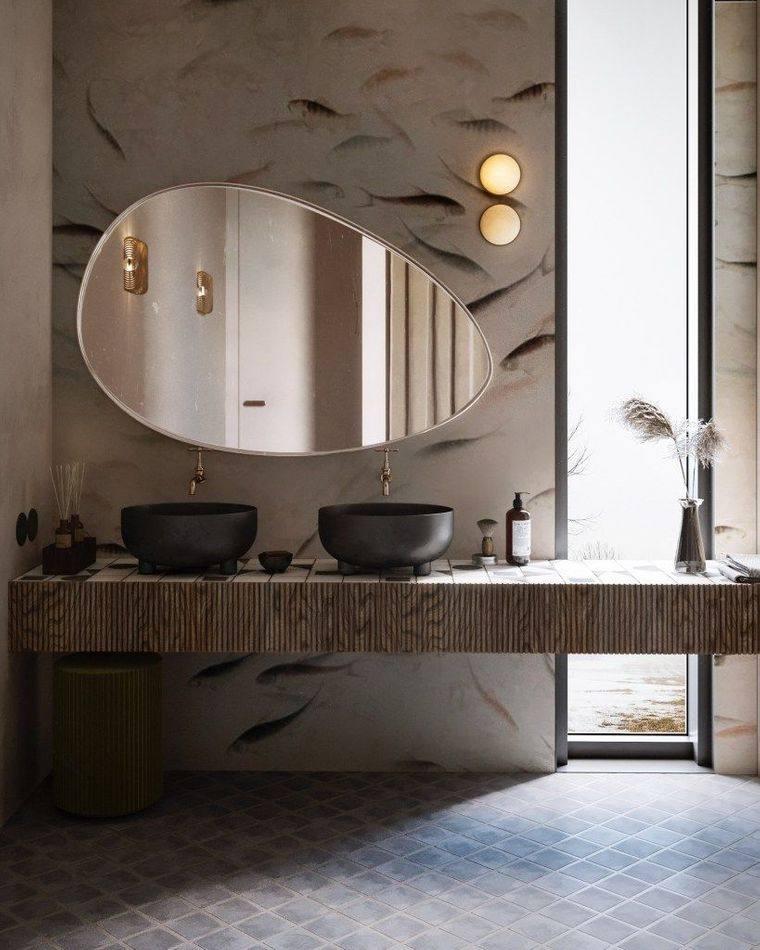 baños modernos espejos diferentes