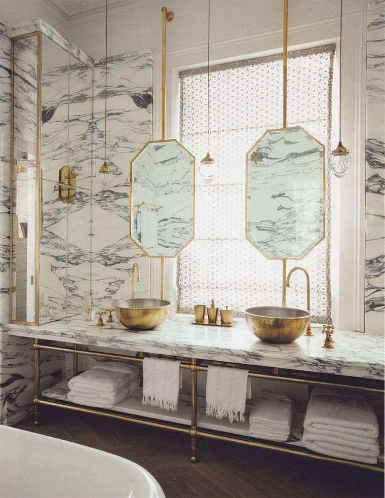 baños modernos oro