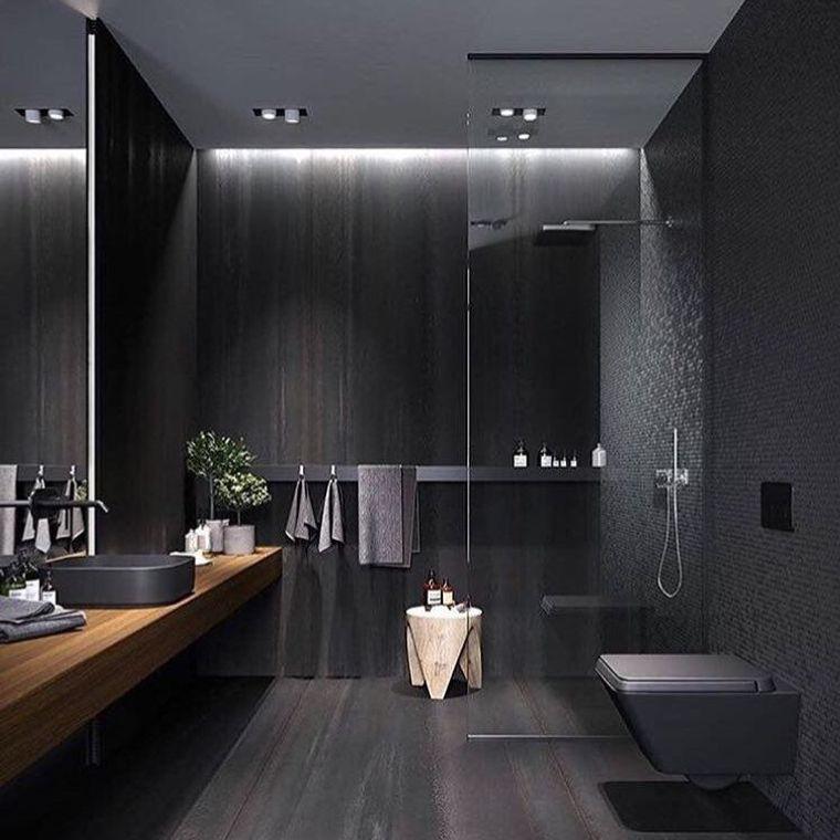 baños modernos oscuros