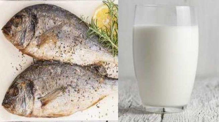 combinación de alimentos dañina pescado leche