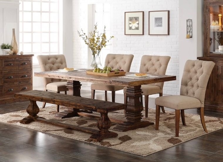 comedores modernos con sillas banco