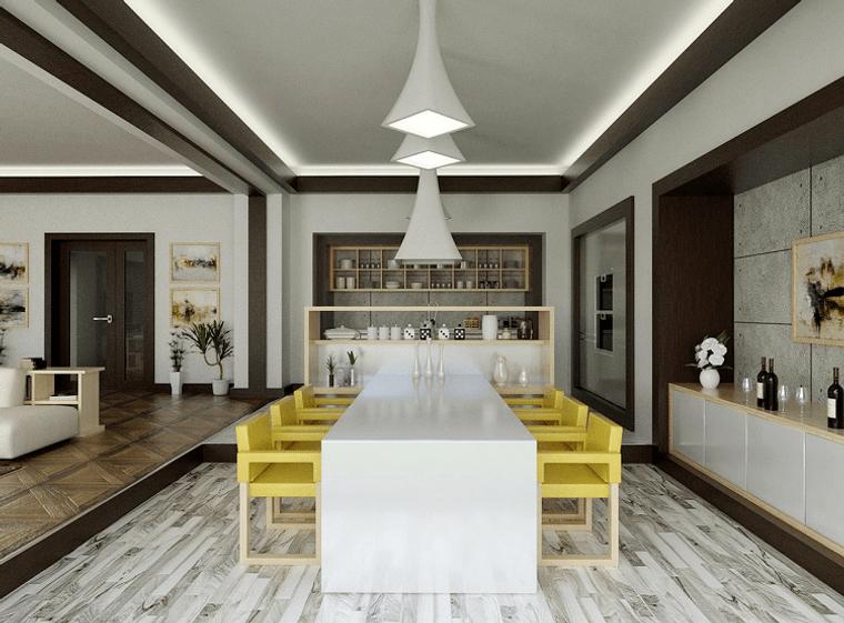 comedores modernos sillas amarillas