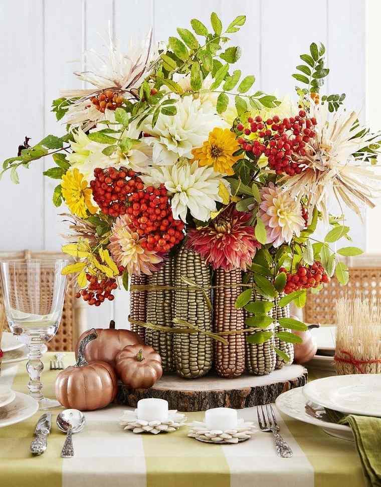 decoración centro de mesa maiz