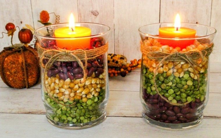 decoración granos velas
