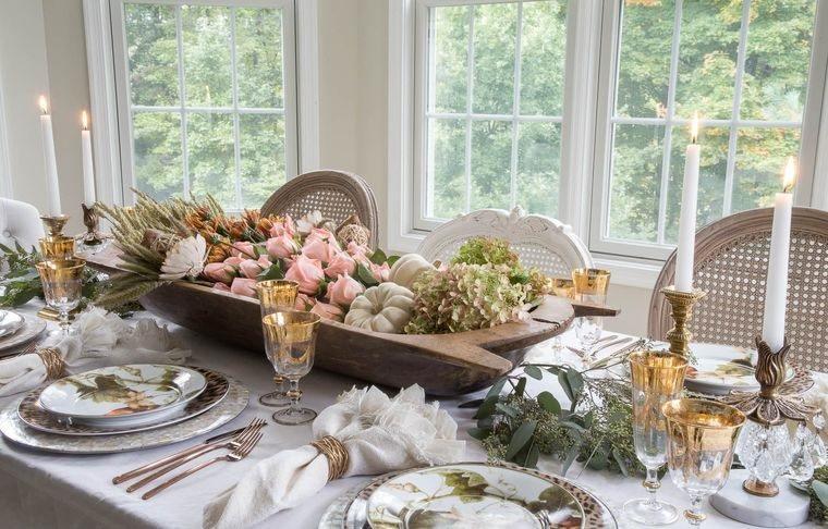 decoración mesa elegante otoño