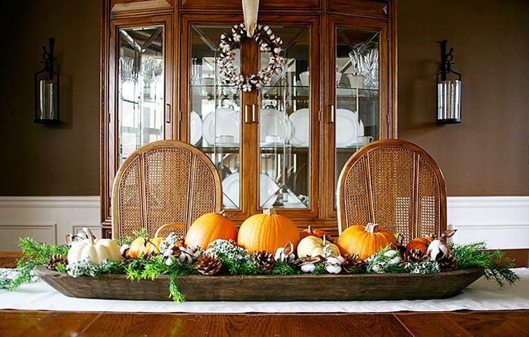 decoración mesa larga