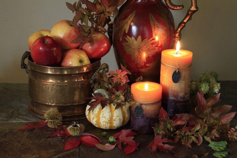 decorción mesa otoño manzanas