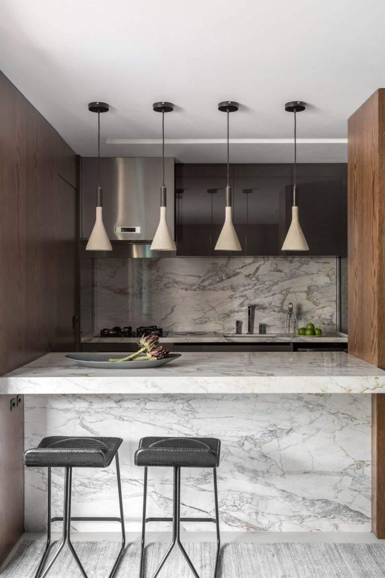 diseños para cocinas-barra-marmol