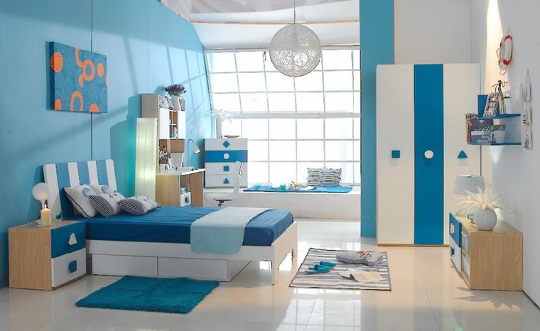 habitaciones infantiles azul blanco