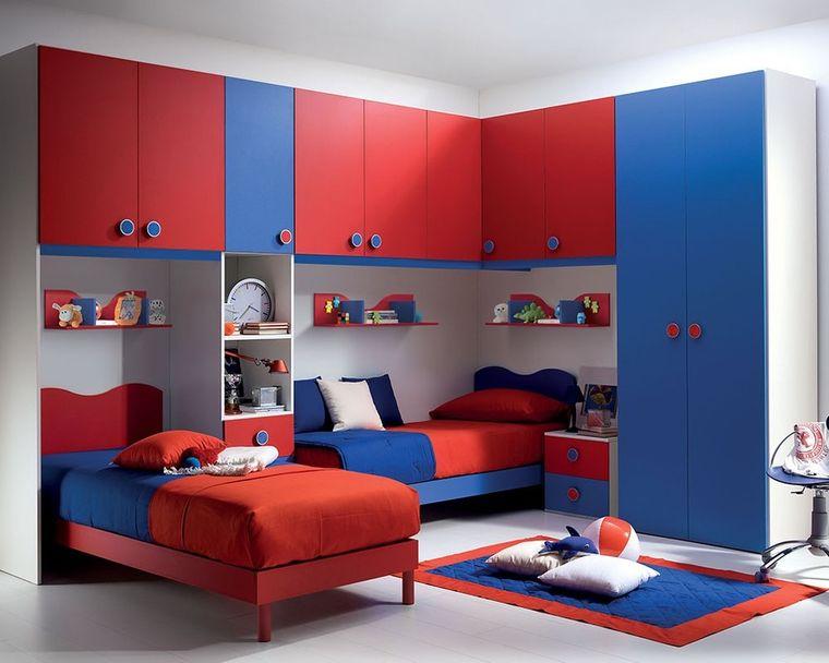 habitaciones infantiles azul rojo