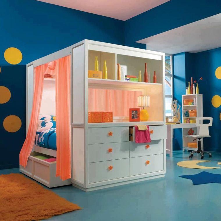 habitaciones infantiles cama almacenamiento