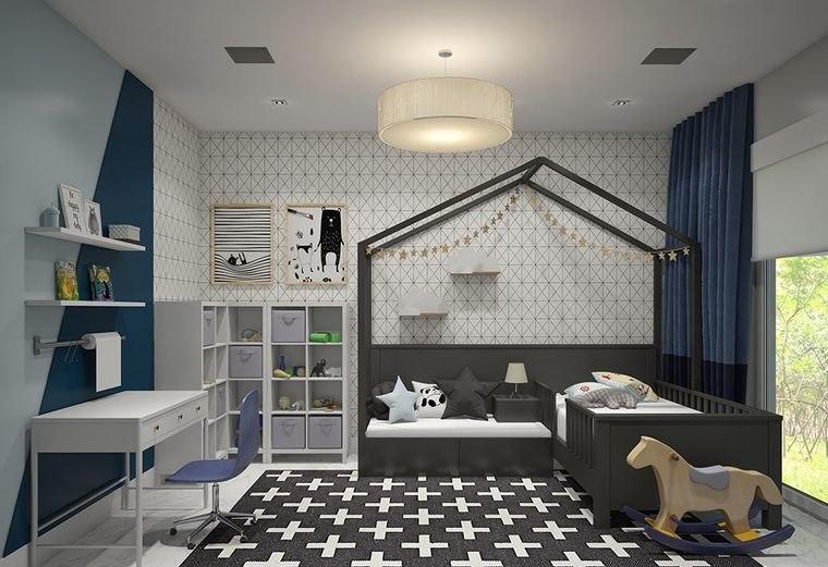 habitaciones infantiles gris azul