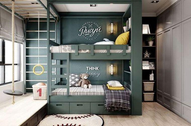 habitaciones infantiles verde oliva
