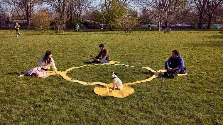 ideas creativas parque con circulo distancia