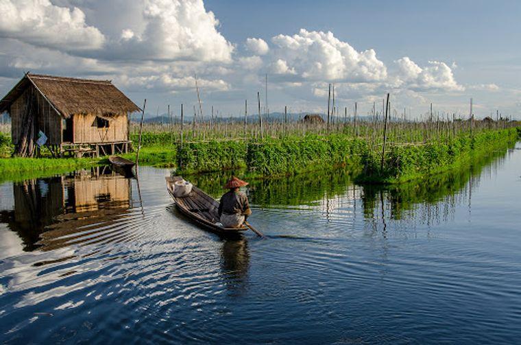 los jardines flotantes para agricultores