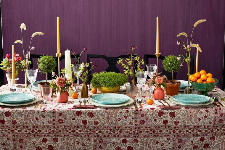 salón comedor decoracion mesa otoño