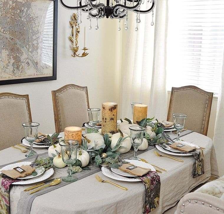 salón comedor decoracion otoño con velas