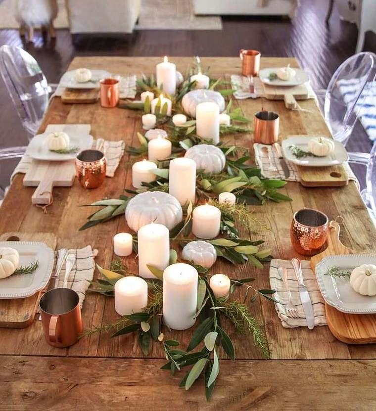 salón comedor mesa detalles otoño