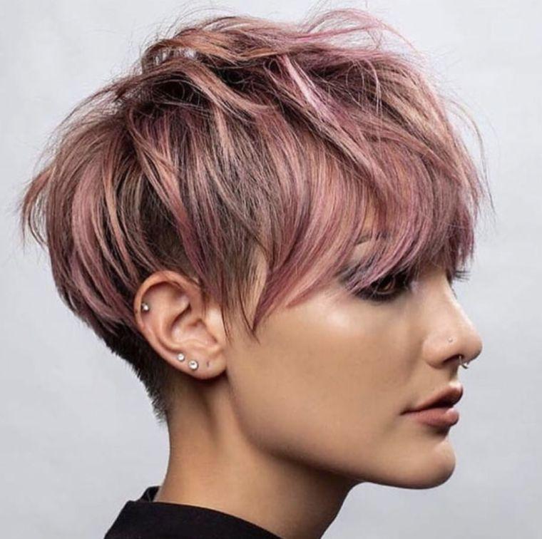 colores de moda para el cabello -pixie-rosa