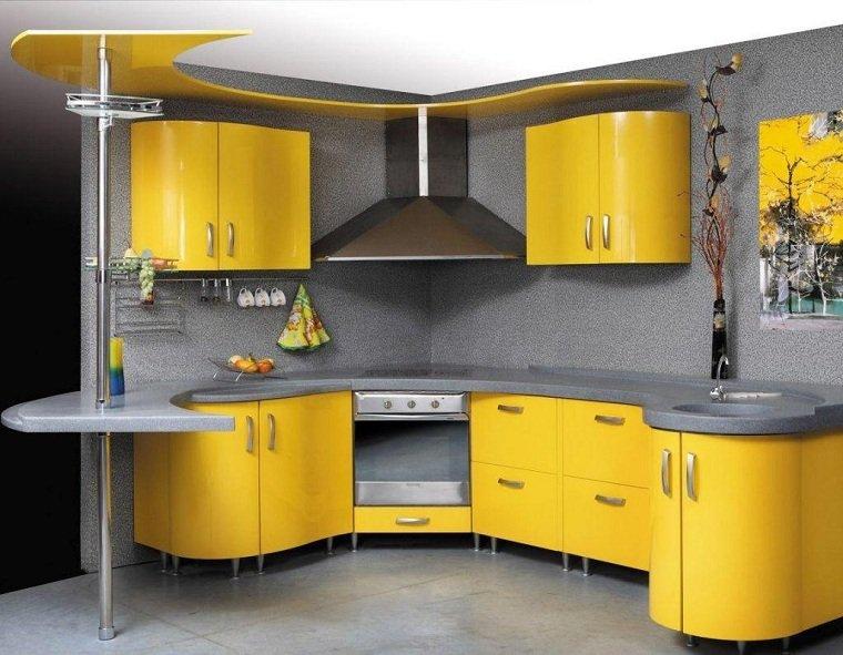 cocina-armarios-amarillos-encimeras-color-gris-ideas