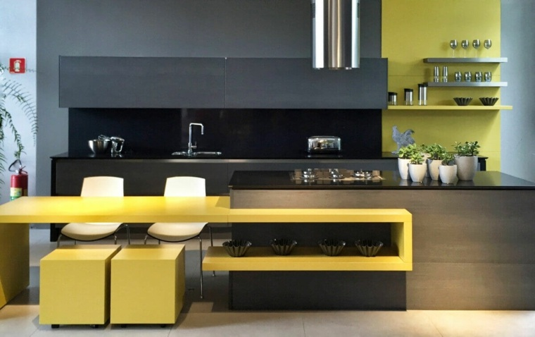 cocina-diseno-color-amarillo-gris-oscuro