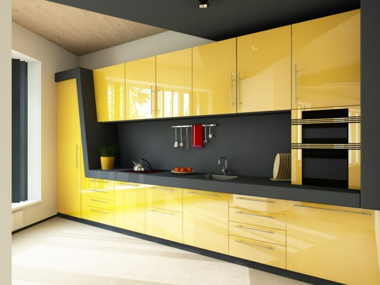 cocina-muebles-gris-ideas-puertas-amarillas