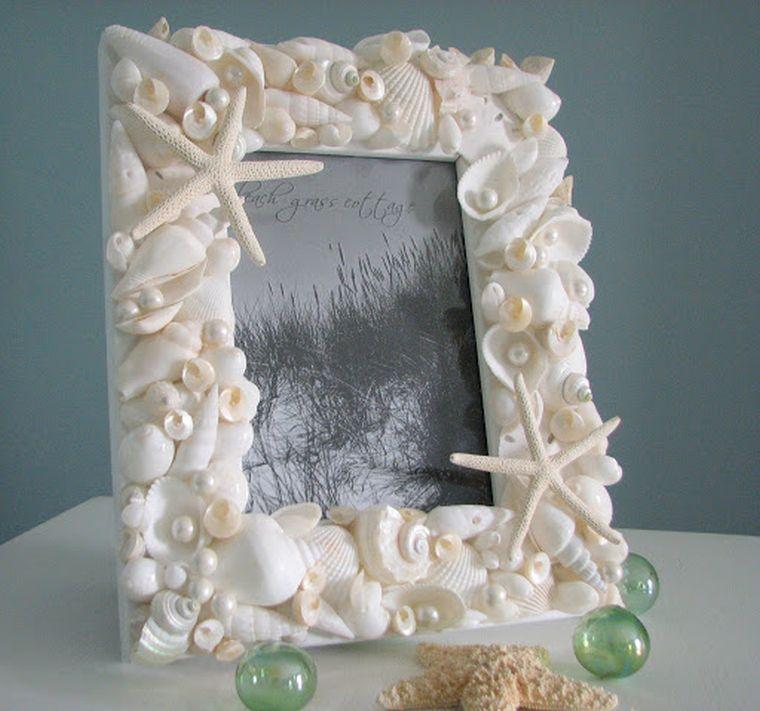 conchas marinas portaretratos