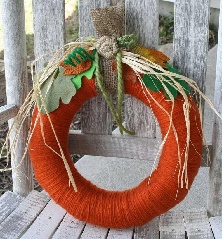 corona hilo calabaza naranja