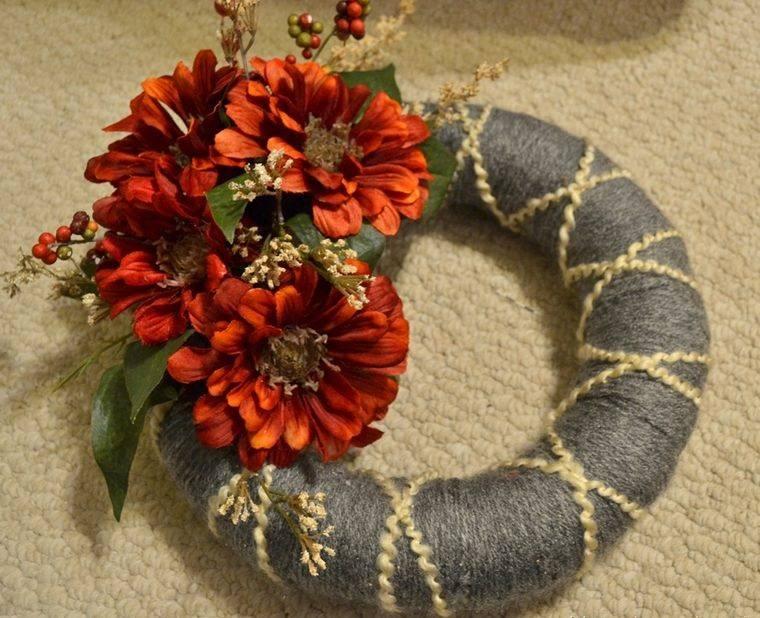corona hilo con flores