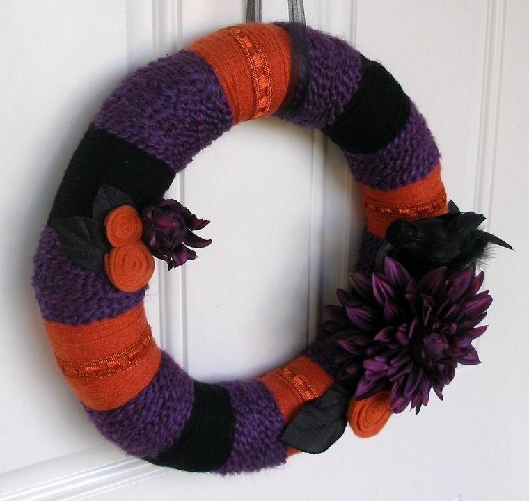 corona hilo flor morada