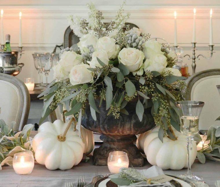 decoración de mesas de comedor calabazas flores