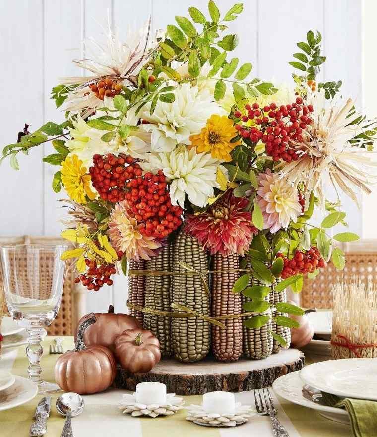 decoración de mesas de comedor con maiz