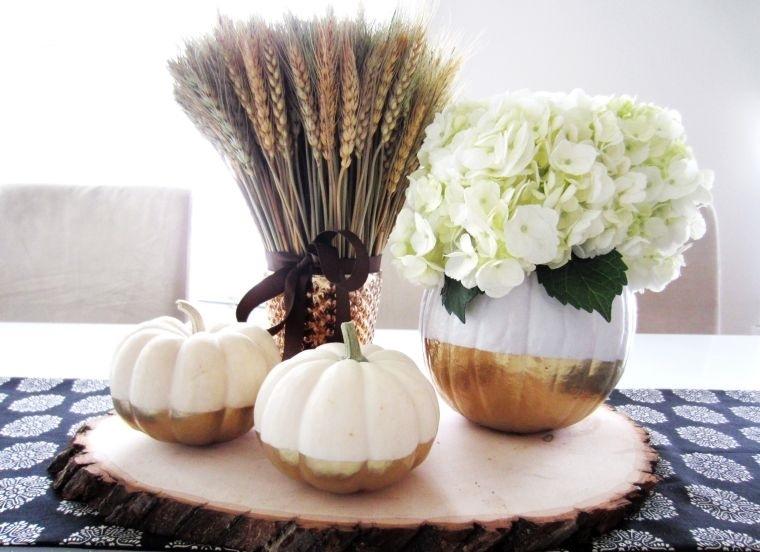 decoración de mesas de comedor con trigo