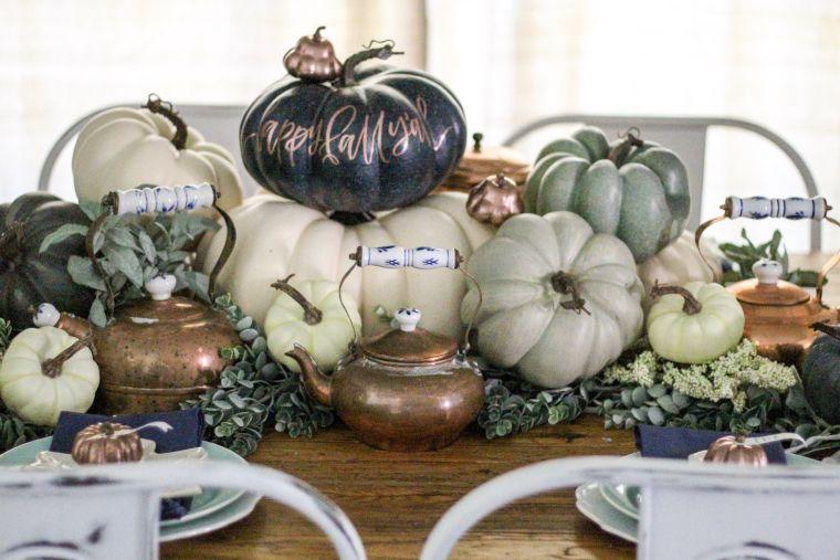 decoración de mesas de comedor en otoño