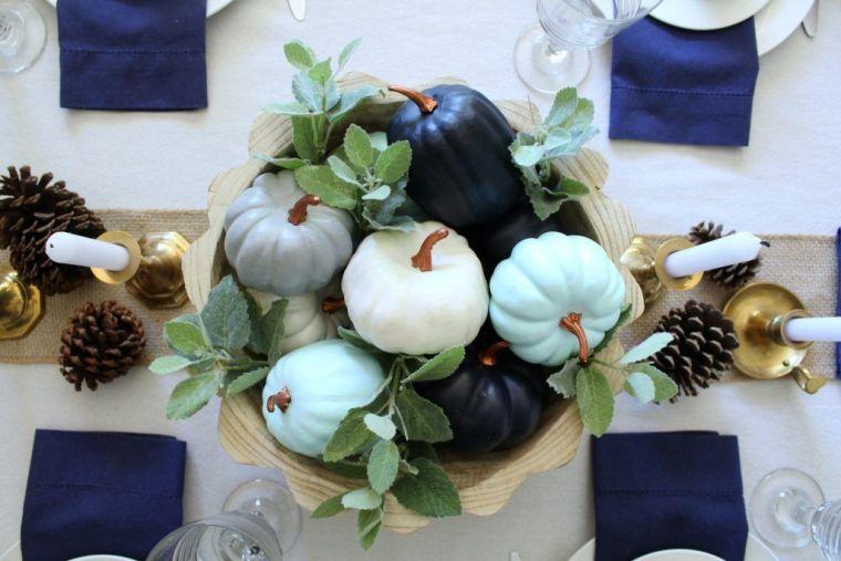 decoración de mesas de comedor mini calabazas