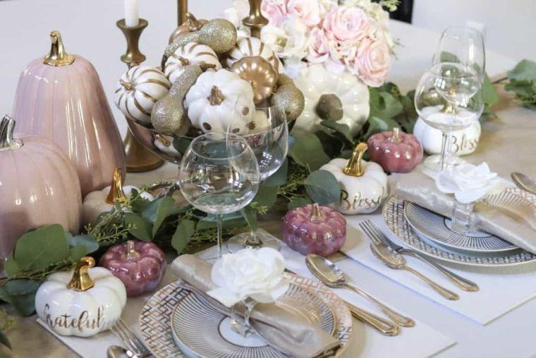 decoración de mesas de comedor otoño