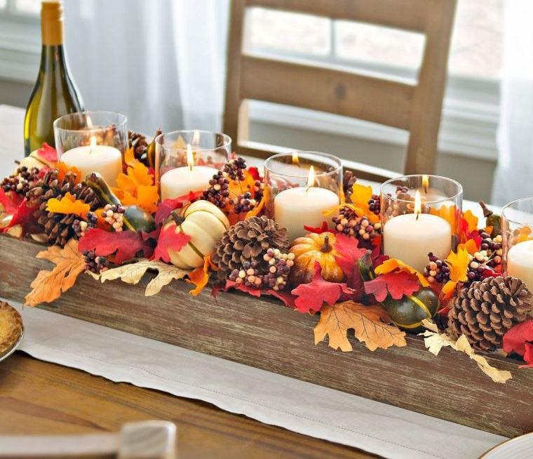 decoración de mesas de comedor piñas hojas
