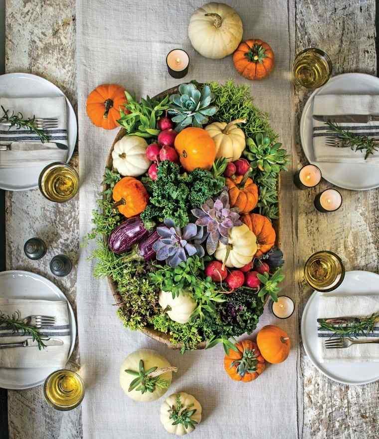 decoración de mesas de comedor temporada otoño