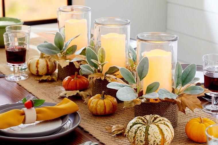 decoración de mesas de comedor velones