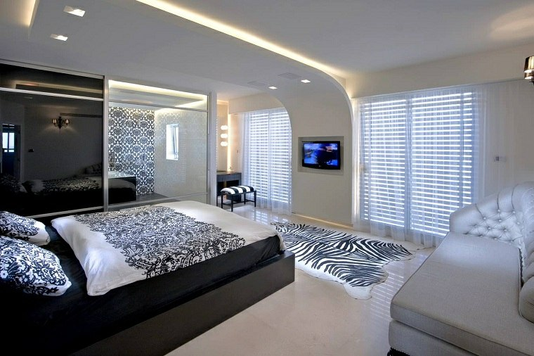 dormitorio con baño-diseno-blanco-negro