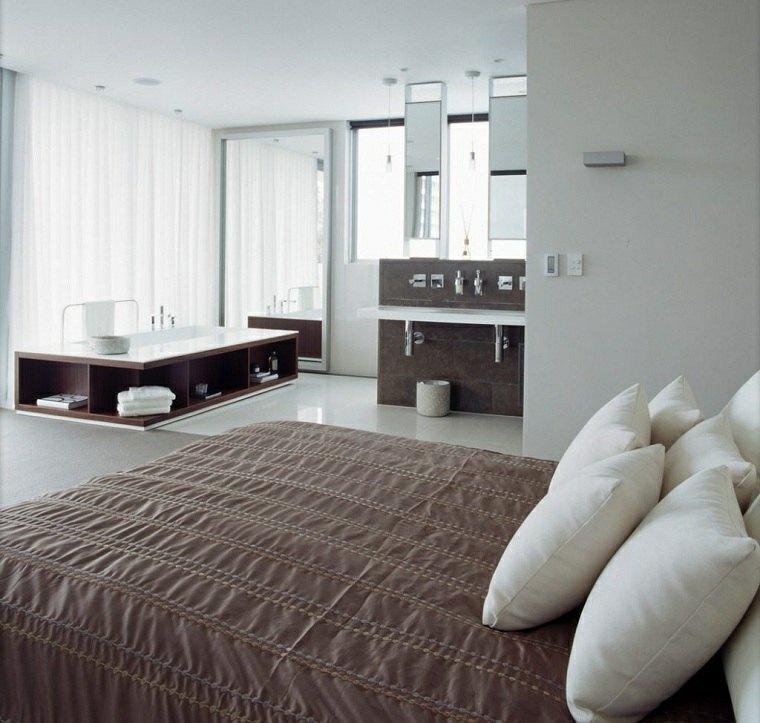 dormitorio con baño estilo-abierto