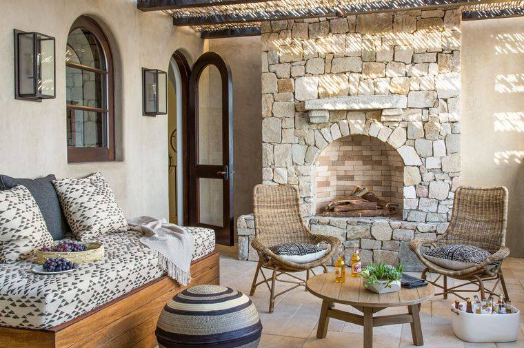 estilo mediterráneo pared piedra