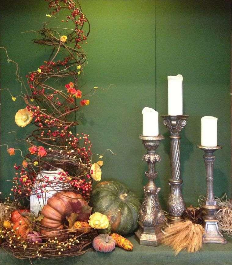 la tradición calabaza ramas otoño