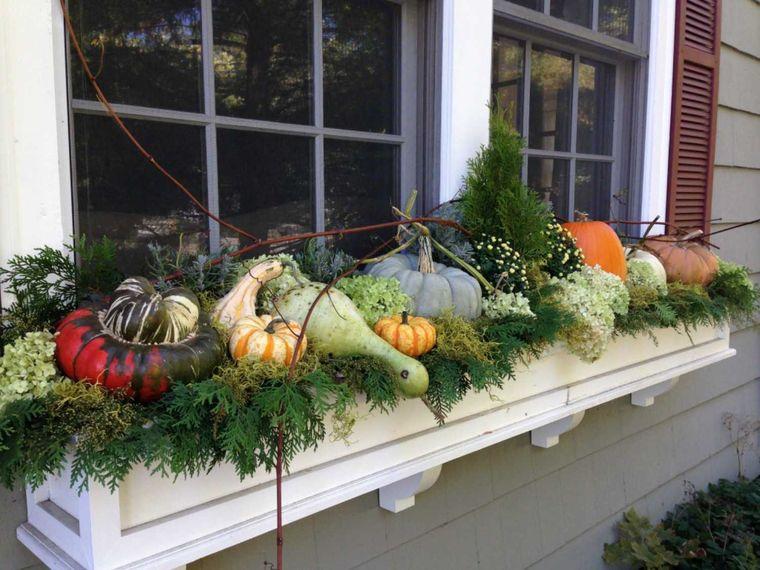 la tradición calabazas decoracion ventana