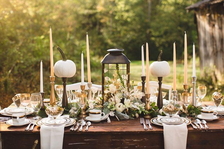 la tradición mesa jardin calabazas