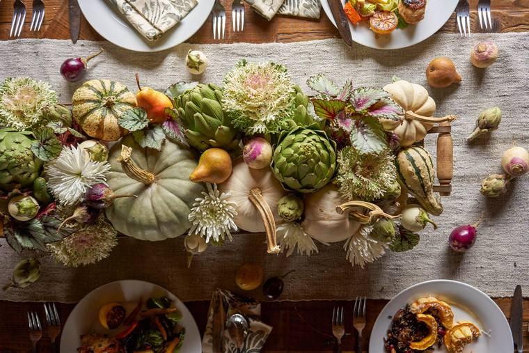 la tradición mesa para accion de gracias