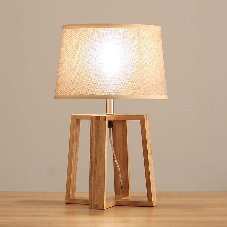 lámparas de mesa base madera