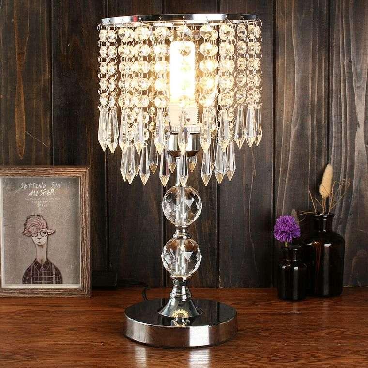 lámparas de mesa cristales lagrimas