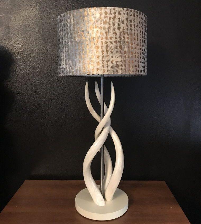 lámparas de mesa pantalla metalizada